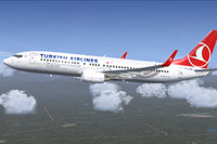 Screenshot of Turkish Airlines Boeing 737-8F2 in flight.