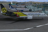 Screenshot of Turkish Airlines Boeing 737-8F2 at the gate.
