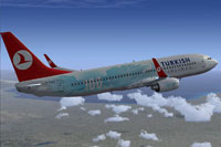 Screenshot of Turkish Airlines Boeing 737-8F2 with the registration TC-JGU.