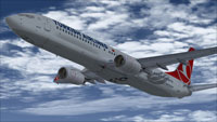 Screenshot of Turkish Airlines Boeing 737-9F2ER in flight.