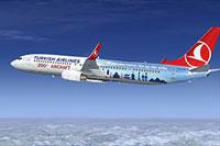 Screenshot of Turkish Airlines Boeing 737-9F2ER in flight.