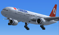 Screenshot of Turkish Airlines Boeing 777-300 in flight.