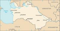 Map showing Turkmenistan.