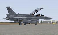 Screenshot of UAE Air Force F-16F on the ground.