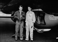 Black and white photo of Chuck Yeager and Jack Ridley.