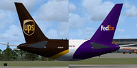 Image showing the logos on both the FedEx and UPS Boeing 767-300F.