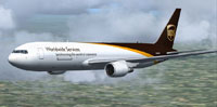 Screenshot of UPS Boeing 767-34AF/ER in flight.