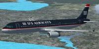 Screenshot of US Airways Airbus A321 in flight.