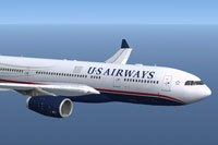 Screenshot of US Airways Airbus A330-243 in flight.