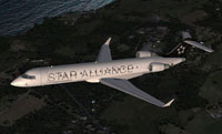 Screenshot of US Airways Bombardier CRJ 700 in flight.