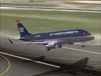 Screenshot of US Airways Express Embraer ERJ 170 taking off.