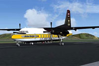 Screenshot of US Army Golden Knights Fokker F27 on runway.