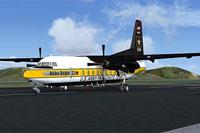 Screenshot of US Army Golden Knights Fokker F27 on runway.
