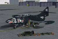 Screenshot of US Marines Grumman F9F Panther on the ground.