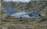 Screenshot of US Navy A-7 Corsair II in flight.