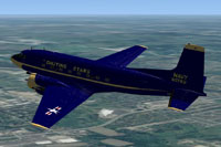 Screenshot of US Navy Chuting Stars Douglas C-117D in flight.