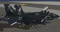 "Screenshot of US Navy FA-18E in ""Jolly Rogers"" 70th anniversary livery."