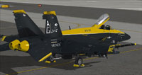 """Screenshot of black and yellow """"Jolly Rogers"""" US Navy FA-18E on the ground."""
