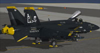 """Screenshot of """"Jolly Rogers"""" US Navy FA-18E CAG parked on carrier."""