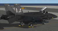"""Screenshot of """"Jolly Rogers"""" US Navy FA-18E on the ground."""
