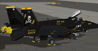 Screenshot of black and yellow US Navy FA-18E VF-84 on the ground.
