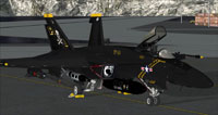 Screenshot of black and yellow US Navy FA-18E on the ground.