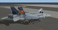 Screenshot of US Navy FA-18E VFA-113 CAG parked on carrier.