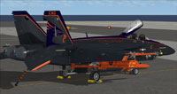 Screenshot of black and orange US Navy FA-18E parked on carrier.
