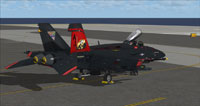 Screenshot of US Navy FA-18E VFA-31 100 parked on carrier.