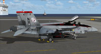 Screenshot of US Navy FA-18E VFA-41 CAG parked on carrier.