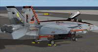 Screenshot of US Navy FA-18E VFA-86 CAG parked on carrier.