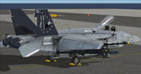 Screenshot of US Navy FA-18E VMA-214 CAG parked on carrier.