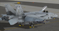 Screenshot of US Navy FA-18E VMA-214 parked on carrier.