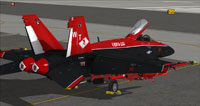 Screenshot of black and red US Navy FA-18E on the ground.
