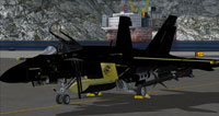 Screenshot of black and gold US Navy FA-18E VRS on the ground.