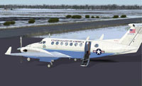 Screenshot of US State Department Beechcraft King Air 350 on the ground.