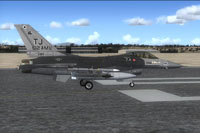 Screenshot of USAF F-16 612FS on runway.