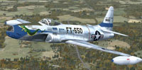 "Screenshot of ""Saggin' Dragon"", USAF F-80 Shooting Star in flight."