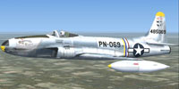 "Screenshot of ""Rhapsody In Rivets"", USAF P-80 Shooting Star in flight."
