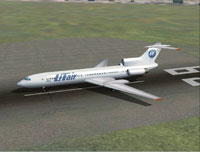 Screenshot of UT Air Tupolev Tu-154 on the ground.