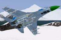 Screenshot of Ukrainian Air Force Sukhoi Su-27 Flanker in flight.