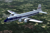 Screenshot of United Air Lines Douglas DC-6B in flight.
