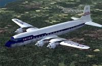 Screenshot of United Air Lines Douglas DC-7 in flight.