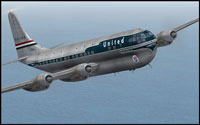 Screenshot of United Airlines Boeing 377 Stratocruiser in flight.