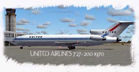 Screenshot of United Airlines Boeing 727-200 on the ground.