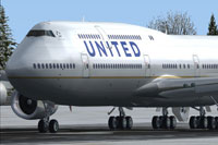 Screenshot of United Airlines Boeing 747-8 on the ground.