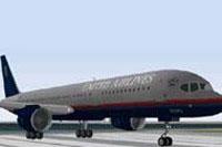 Screenshot of United Airlines Boeing 757-222 on runway.