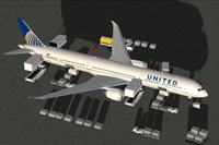 Screenshot of United Airlines Boeing 787-10 with ground services.