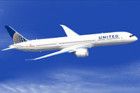 Screenshot of United Airlines Boeing 787-9 in flight.