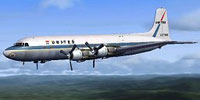 Screenshot of United Airlines DC-6B in flight.